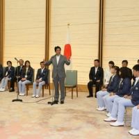 2016/08/24 安倍総理は第31回オリンピック競技大会(2016/リオデジャネイロ)日本代表選手団による表敬を受けました