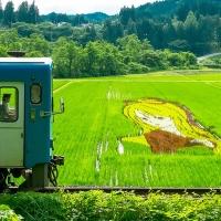 2016/08/23 秋田内陸線の車窓から楽しむ「田んぼアート」が見ごろを迎えています!